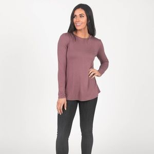 Fitted Tee Long Sleeve Mauve Latte